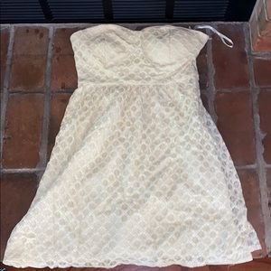 Off white lace strapless dress